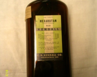 Vintage 1950's  brown KENDALL H-23 pharmaceutical bottle