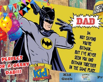 60's Batman Bat Dad Father's day 5 x 7 Card! A unique card for a geeky dad!
