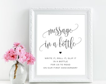 Message in a bottle sign, Printable wedding message in a bottle guest book sign, Message in a bottle wedding guest book sign, Beach wedding