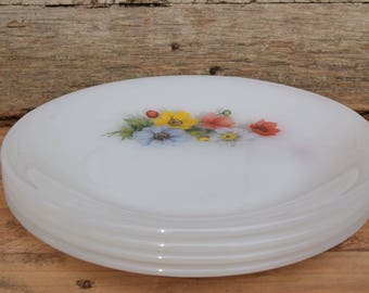 Vintage 70's / Lot 4 dessert plates / Arcopal Made in France / ground Anemone / decorated Opaline
