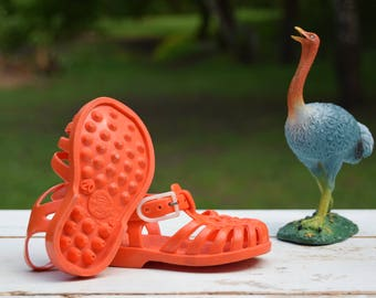 Plastic sandal / Baby / Jelly shoes / Made in France / Shoe size 4 / Orange