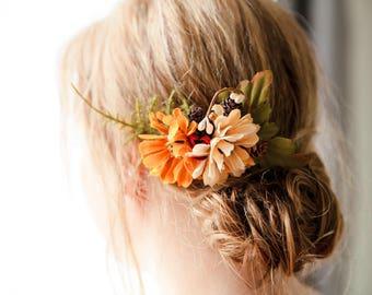 Fall floral hair piece, fall colors hair clip, flower hair comb, autumn bride, ferns and flowers, bridesmaid hair comb, fall wedding hair