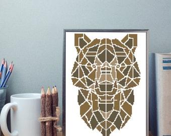 Geometric Bear Cross Stitch Pattern Modern - Instant Download PDF. Abstract Bear Embroidery Pattern.