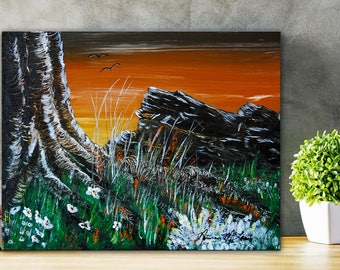 OLD TREE -Original Art Acrylic Landscape Painting Tree Artwork on Canvas Scenic Wall Art by NormsArtRoom