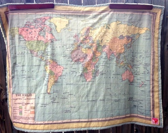 WORLD Map minky blanket / baby cuddle quilt, vintage map of the world... or shoulder blanket, wheelchair lap blanket... 30 by 42 inches
