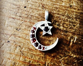 Vintage inspired crescent moon and star pendant with stones