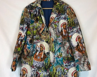 Homemade Native American Print Quilted Blazer
