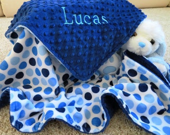 Minky Baby Blanket, Personalized Baby Boy Blanket, Blue Baby Boy Blanket, Baby Gift, Baby Shower Gift, Minky Baby Blankets, Stroller Blanket