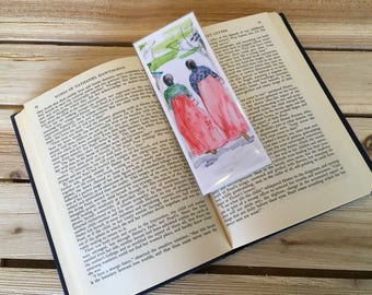 """Bookmark """"Ladies in Hambok""""; artsy Bookmark; Booklovers Gift; Small Art Gift; Either Laminated or Paper Bookmark; Handmade, Unique Bookmark"""