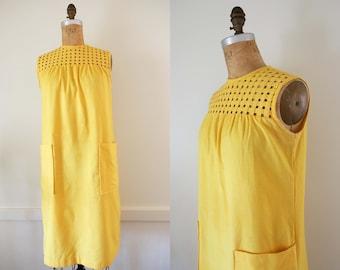 1960's  Cotton Blend Yellow Shift Dress