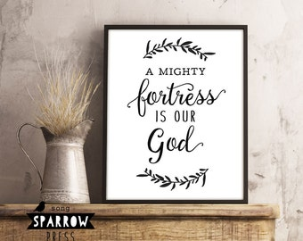 "Christian Wall Art, Hymn Art Sign, ""A Mighty Fortress"", Digital Print, Scripture Wall Sign, Wall Decor, Wall Art, Scripture Printable"