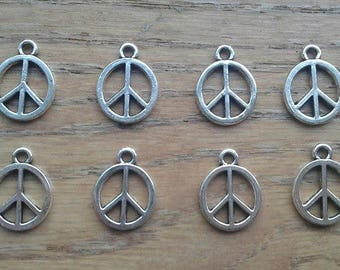 Peace Sign 1960's and 1970's Hippie Silver Tone Charms x 8
