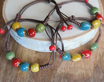 Colorful Ceramic Pebble Bead Bracelet Waxed Linen Cord For Women/ Girls Jewelry