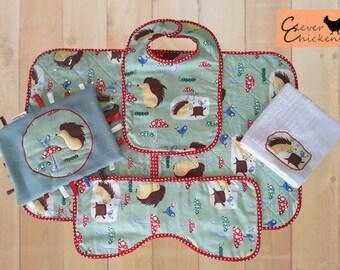 Baby Shower Gift Set Woodland Animals Bib Change Mat Face Washer Burp Cloth Toy Taggie