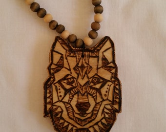 Woodburn Wolf necklace, Handmade wolf necklace, wolf bead necklace, tribal wolf necklace