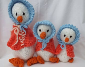 Hand Knitted Ducks in 3 sizes, Jemima Puddleduck, Small Stuffed Soft Toys