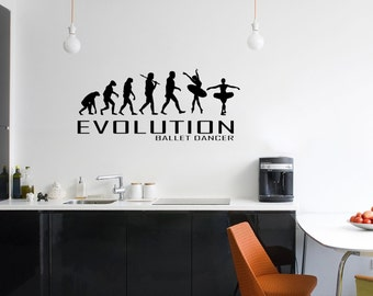 Evolution Of Ballet Dancing Wall Decal Planes Hearts Love Travel Vinyl Stickers Decals Art Home Decor Mural Lettering Wall Decal Bedroom