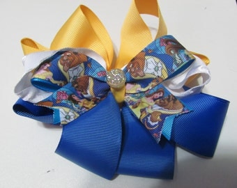 Disney Style Beauty and the Beast Fancy Stacked Ribbon Hair Bow 6 inch