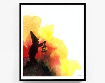 Printable Original Watercolor Artwork, Digital Print, Abstract Wall Art, Gnome Painting, Garden Gnome, Digital Download