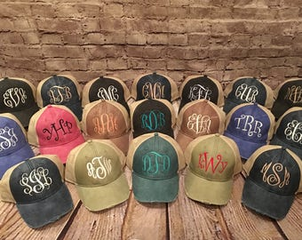 monogram hat, distressed monogrammed hat, adams monogram hat, women hat,adams distressed hat, ladies cap,trucker hat, monogram cap