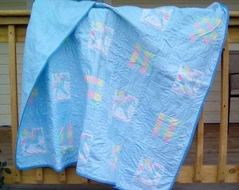 Pastel baby patchwork quilt