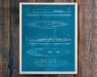 Boat Patent Blueprint, Vintage Lake House Sign PRINTABLE Art Download, Ocean Coastal Art, Instant Download Cabin Decor (#16531b)