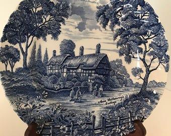 Vintage Cobalt Blue Anne-Hathaways Cottage Plate-Made in England