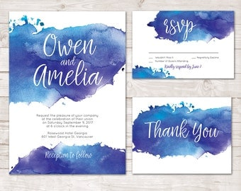 watercolor wedding invitation watercolor invite thank you card printable wedding invitation set - Watercolor Wedding Invitations