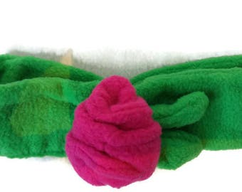 Soft green fleece headband with pink rose