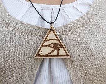 Wooden pendant, Wooden Jewelry, Nature Jewelry, laser engraved, Laser cut jewelry, Egyptian hieroglyphs, Ancient Egyptian jewelry,