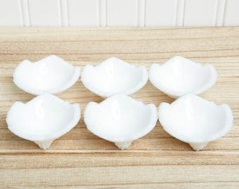Milk Glass Bowls  Footed Bowls Leaf Dishes  Small Milk Glass Dip Cups   Leaf Oil or Dip Trays  Rare Vintage Milk Glass   White Wedding Decor