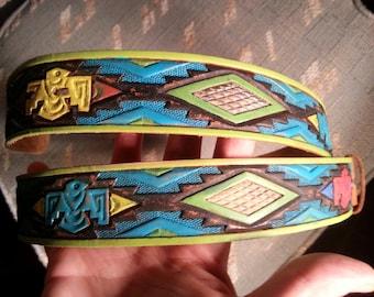 Handpainted Vintage Leather Belt