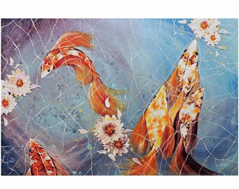 Koi Fish in a Pond with Lotus Flowers Print