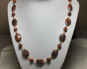"""Necklace and Earing Set: Goldstone and Designer Goldstone Beads, Length of Necklace 23"""""""