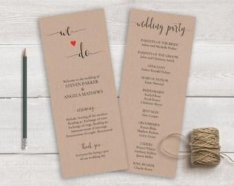 Wedding Ceremony Program Template, Order of Ceremony, We Do Wedding Program Printable, Rustic Wedding Program, Kraft Wedding Program DIY
