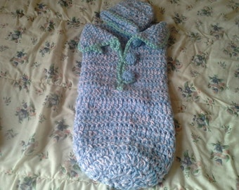 Baby Boy Bunting Bag with crochet buttons