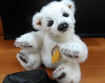 Vanechka, polar bear Teddy in the style of realistic