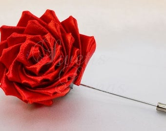 Rose boutonniere, kanzashi satin flower, corsage, brooch, boutonniere, kanzashi, fabric flower