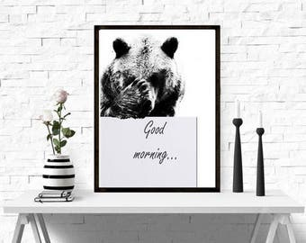 Instant Download, Print bear, Print of an animal, Animal illustrations, Printable Art, Nursery Decor, Nursery Printable, Baby Shower Gift