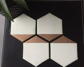 Rose Gold & White concrete coasters - home decor