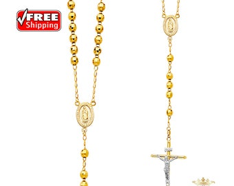 14K Yellow Gold 6mm Ball Rosary Necklace - 26""