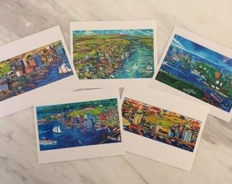Greeting Cards, Pack of 5, Blank Greeting Cards, original art prints, Halifax, Nova Scotia, Canada