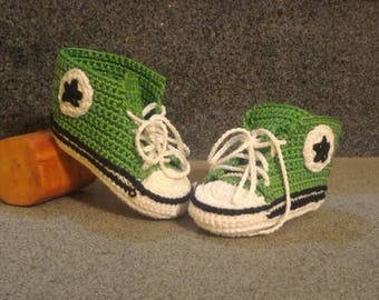 Unisex baby booties crochet cotton made Converse style