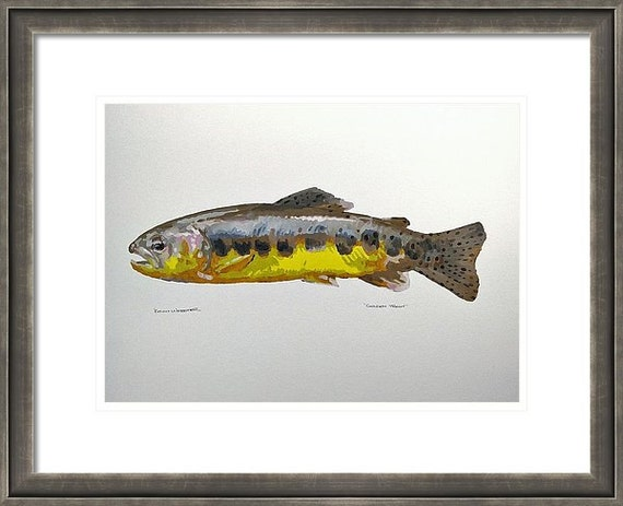 """GOLDEN TROUT - Original 11"""" x 14"""" Impressionistic Oil Painting On Paper"""