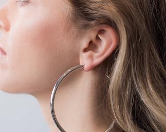 Simple silver hoop earrings, big hoop earrings for women, thick hoop earrings, delicate silver hoop, classic hoop earrings