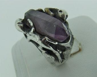 Amethyst Crystal Modernist sterling silver ring