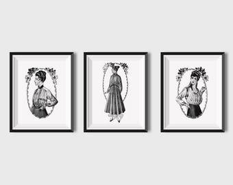 Printable Wall Art Vintage Women Set of 3 Prints Black and White, Antique Wall Art Prints, Printable Art Prints Vintage, Bohemian Print Set