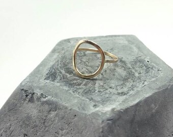 Gold circle ring, gold-filled circle ring, gold-filled ring, geometric jewelry
