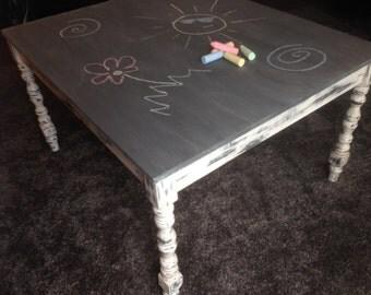 Distressed Kid's Chalkboard Craft Table