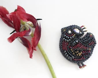 beaded brooch bird, bird beaded brooch, beaded brooch, brooch bird,  beaded embroidery brooch, embroidery brooch,brooch gift, jewelry brooch
